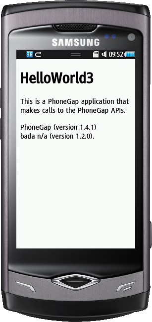 Image of a PhoneGap application running on bada